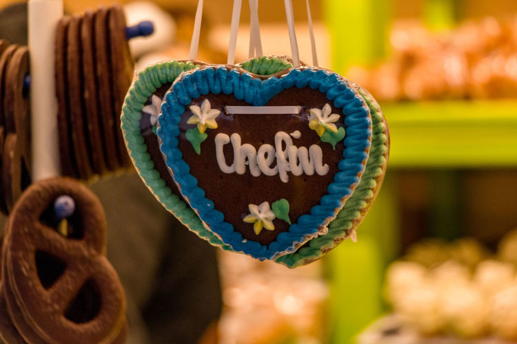 Close-up Communication Day Focus On Foreground Food And Drink Freshness Hanging Heart Shape Indoors  Love Market No People Shape Text Western Script