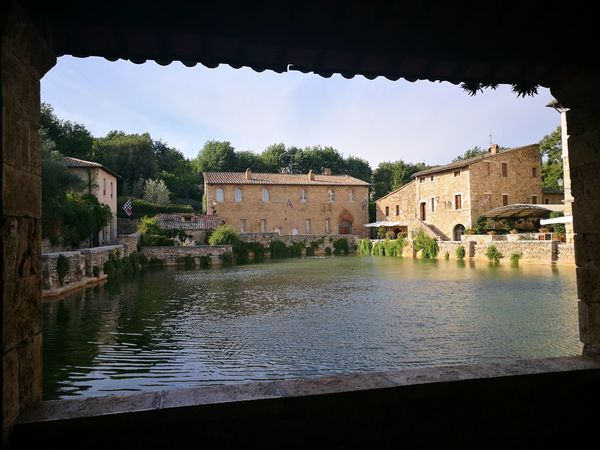 Water House Architecture Building Exterior Built Structure Day Outdoors No People Roof Tree Sky Terme Bagnovignoni Piazza