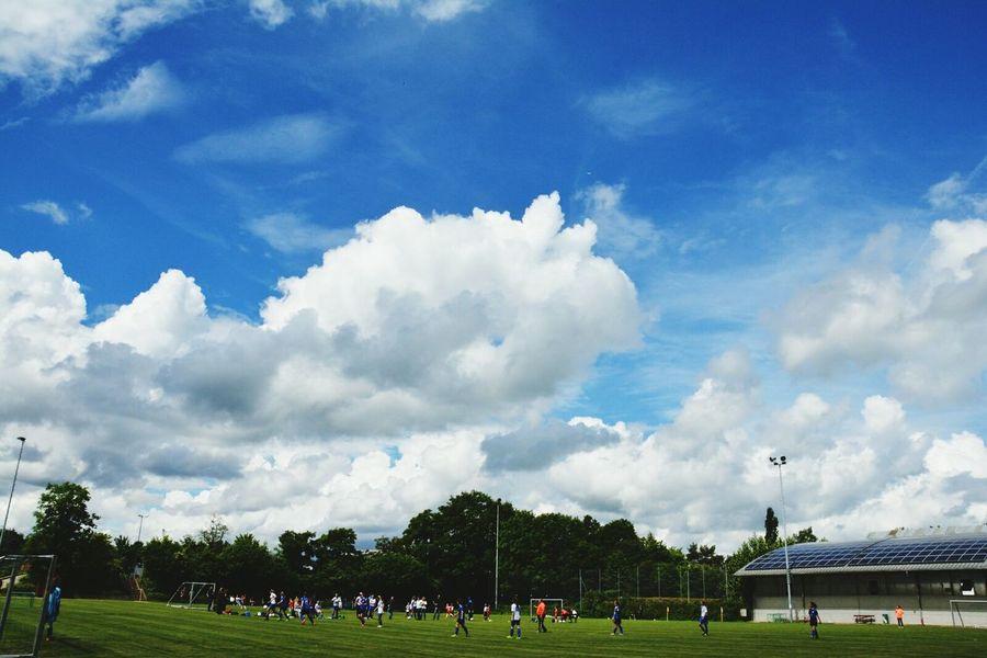 Sky Grass Cloud Blue Cloud - Sky Beauty In Nature Field Nature Fussball Fußballfieber