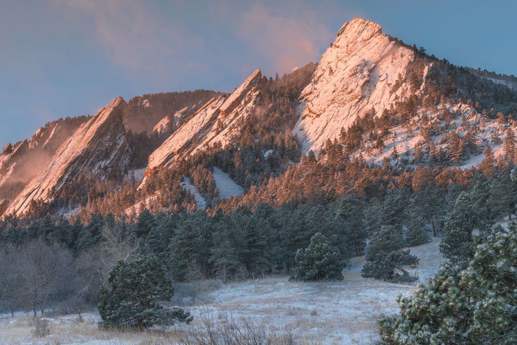 EyeEmNewHerе Boulder, Colorado Winter Beauty In Nature Cold Flatirons Boulder Golden Hour Mountain Mountain Peak Mountain Range Nature No People Scenics - Nature Sky Snow Snowcapped Mountain Sunrise Tranquil Scene Tranquility