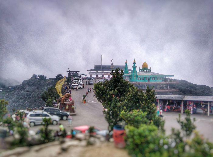 Higher Ground Mosque Landscape . TangkubanParahu Mountain Volcano Crater at Bandung Subang Ciater