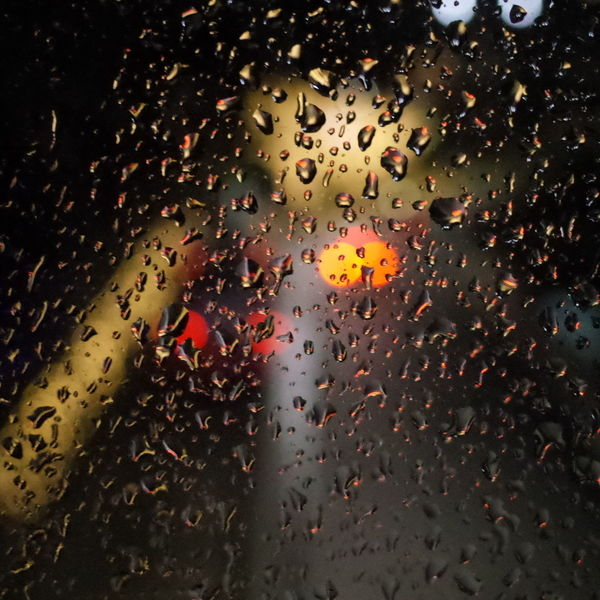 Night Lights Raindrops Through The Window Rain How's The Weather Today? Reflected Glory