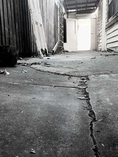 Cracked Cracked Pavement Abandoned Built Structure Rotting Building Exterior Corrugated Iron Left Behind Suburbia Suburban Landscape Suburban Exploration Weatherboards Samsung S7 Samsung Galaxy S7