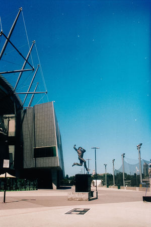 Melbourne Australia Cricket! Cricket Field Sports Sculpture Entrance Film Photography Filmisnotdead Nikonfe Portra400 Film Analogue Photography 35mm Film Analog Blue Sky Sky Color Palette