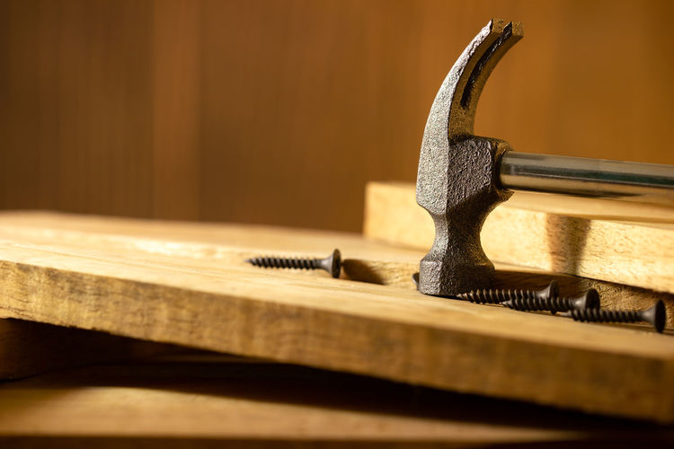 Close-up of padlock on table
