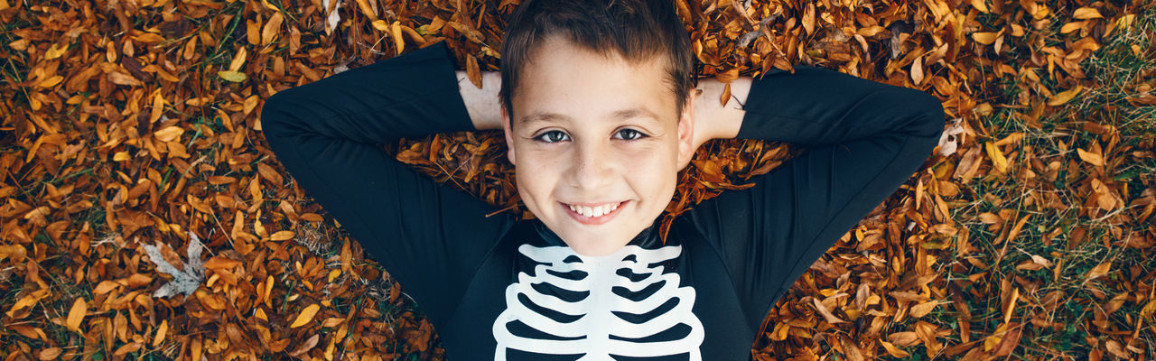 Portrait of cute boy standing in autumn leaves