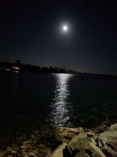 Moon Night Astronomy Sea Outdoors Scenics Beauty In Nature Horizon Over Water Illuminated