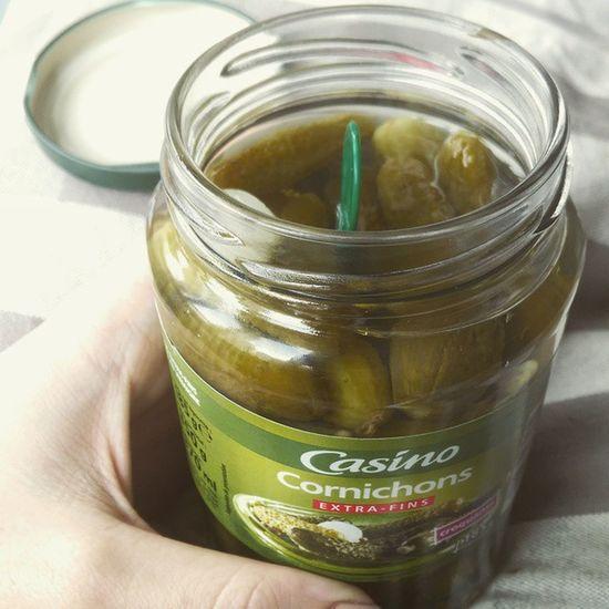 Straight outta the jar Pickles Cornichons Foodporn Delicious