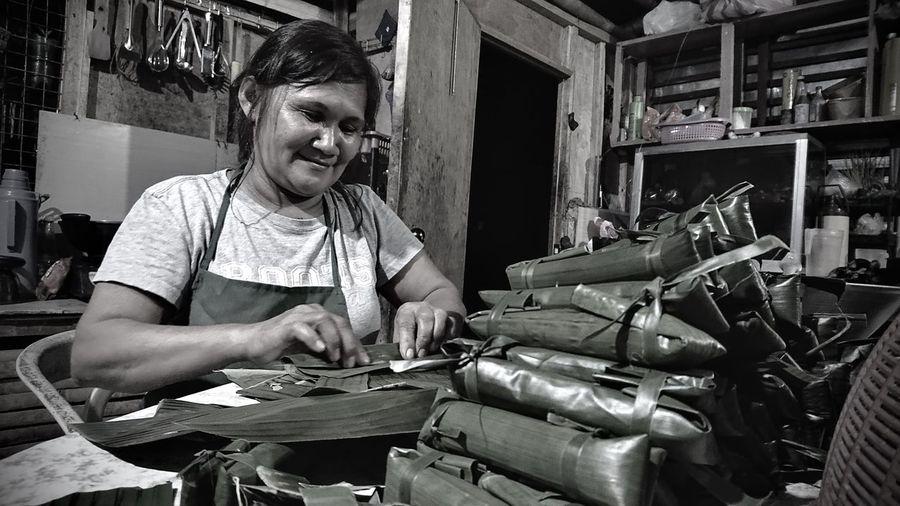 Woman working in workshop