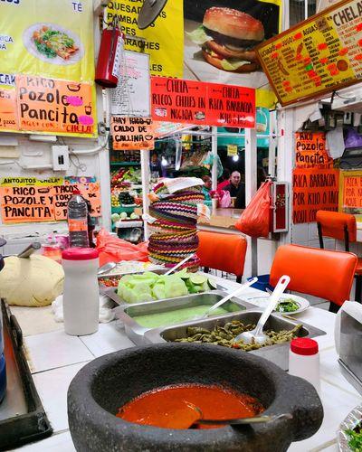 Comida típica Mercado Tlalpan Cdmx Mexico City Comida Salsas Picantes Colors Colores Text Food And Drink Market Stall Display Market Farmer Market Shop Various
