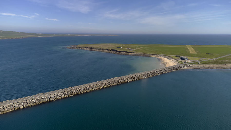 An aerial view of the churchill barriers in orkney, scotland, uk