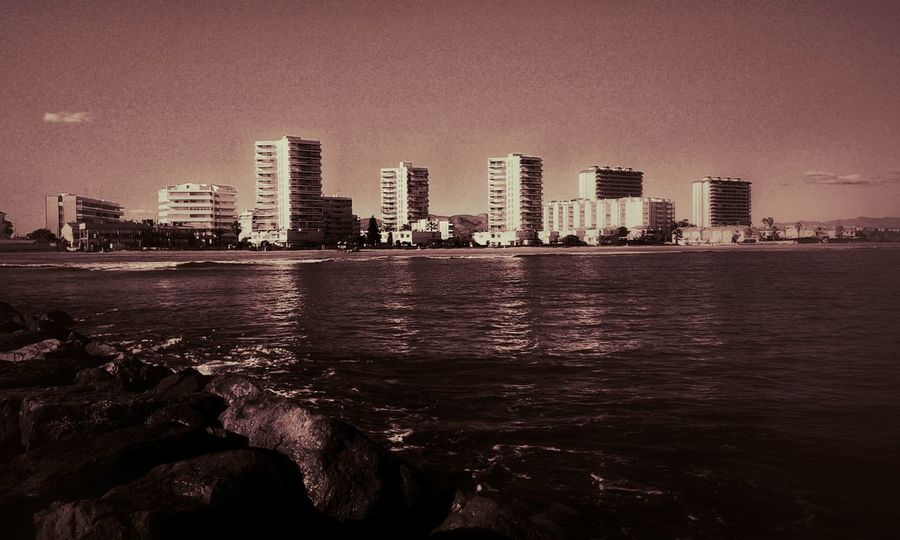 City Cityscapes Red Filter Sea