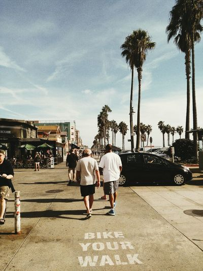 Togetherness Sky Walking People Lifestyles Bonding Outdoors Real People City Beach Friendship Friends Guy Friends Male Friend Boardwalk Venice Beach Los Angeles, California Palm Tree Palm Trees