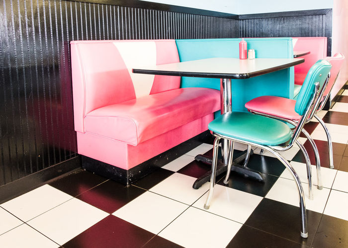 American 1950s Style Diner 1950s 1950sstyle American Classic Food And Drink Mid-Tennessee Milkshake Nolensville United States Booth Chair Chairs Close-up Day Deep South Diner Food Indoors  No People Pink Color Restaurant Seating Table Tennessee Turquoise Color