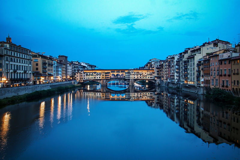 Architecture Blue Building Building Exterior Built Structure Canal City Day House Night No People Outdoors Ponte Vecchio Reflection Reflection Residential Building Residential District Residential Structure River Sky Standing Water Twilight Water Waterfront