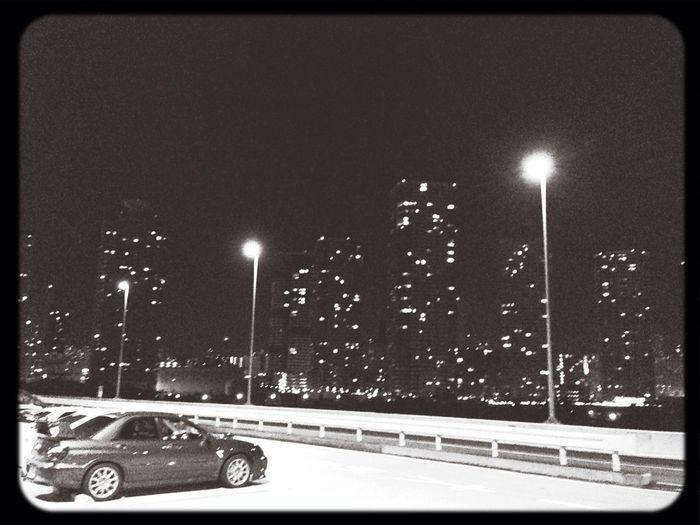 なんとなく深夜にグルグル☆これから2周目〜( ̄▽ ̄) Nightphotography Driving BW_photography Monochrome