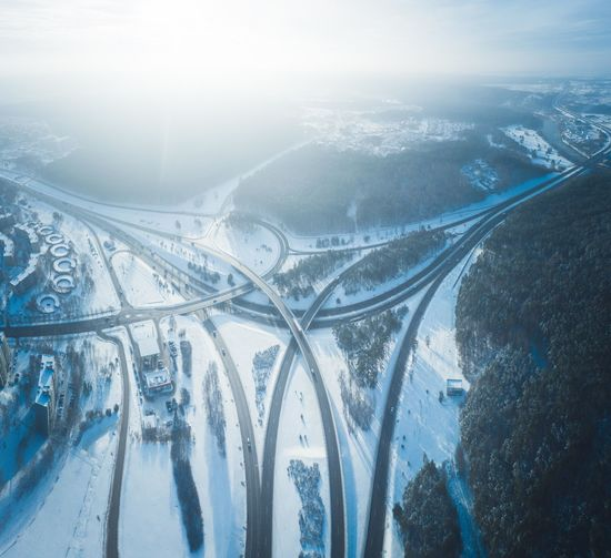 Winter Highway, Vilnius, Lithuania Highway Highways&Freeways Freeway Winter Snow Vilnius Lithuania Blue Arctic Cold Temperature Morning Transportation Traffic Wintertime Junction Intersection Ramp Aerial View Aerial Photography Forest Interchange  Bridge Street City Season