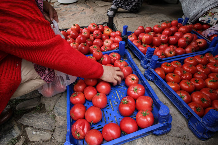 Red Choice Food Food And Drink Freshness Fruit Healthy Eating Human Body Part Human Hand Large Group Of Objects Market Market Stall Outdoors Real People Red Fruit Select Selection Selects Tomato Tomatoes