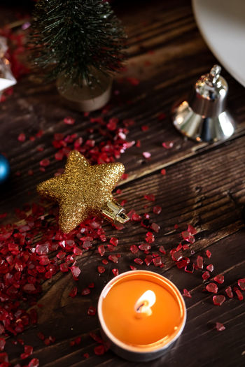 Celebration Decoration Christmas Christmas Decoration Holiday Indoors  Christmas Ornament Table High Angle View Illuminated No People Close-up Star Shape Food And Drink Candle Still Life Food christmas tree Shape
