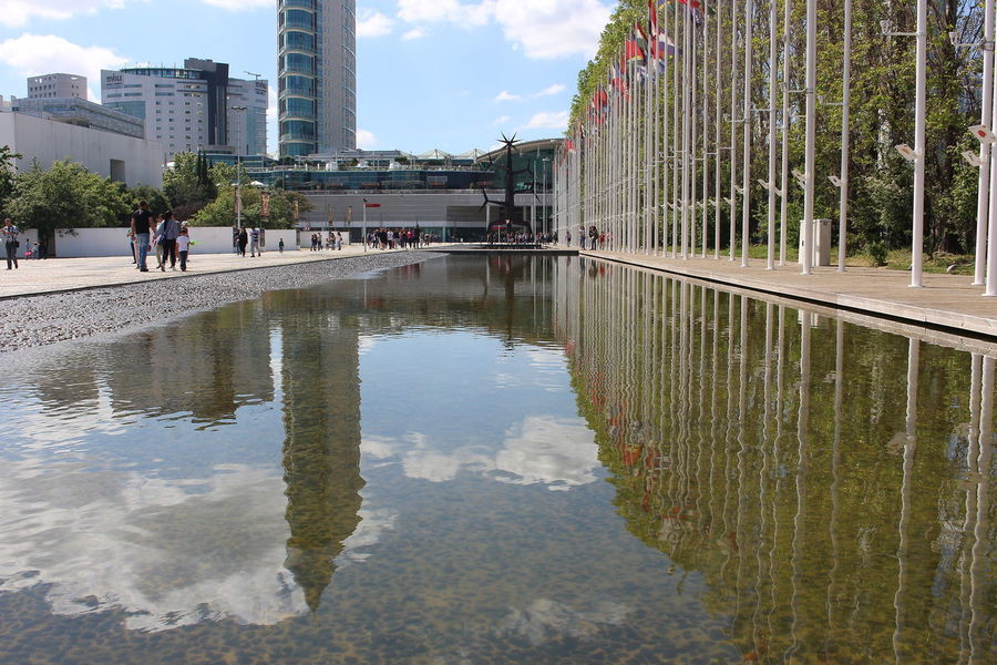 Water Reflection Sky Day Outdoors Lake Architecture City Flood People Parque Das Nações Lisbon Lisboa Portugal