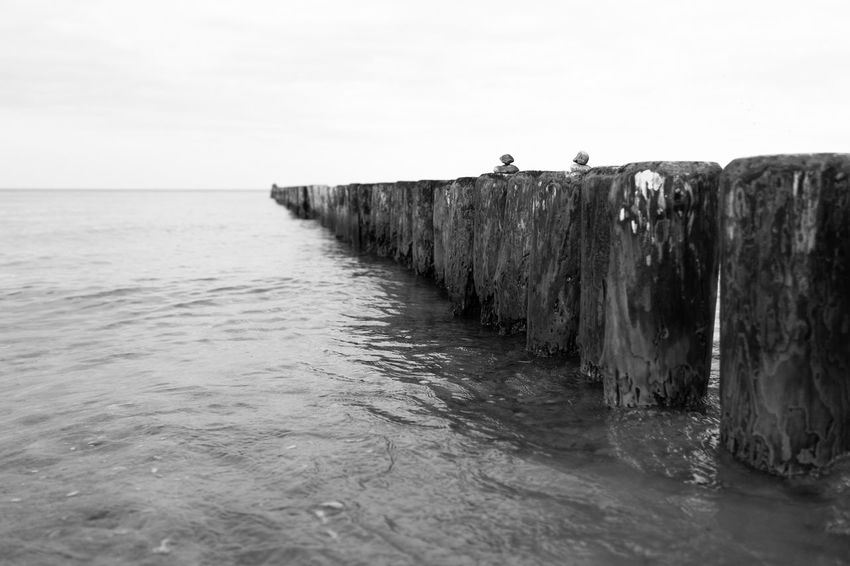 Baltic Sea Beauty In Nature Black And White Blackandwhite Break Water Calm Sea Clear Sky Day Groin Horizon Over Water Nature No People Outdoors Scenics Sea Seascape Sky Tranquil Scene Tranquility Water Waterfront