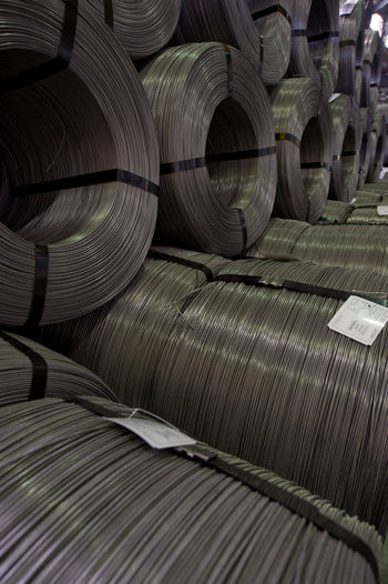 Full Frame Shot Of Metallic Rolled Up Wires At Steel Plant
