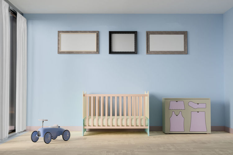 Baby bedroom with picture frame Wall - Building Feature Indoors  No People Art And Craft Frame Empty Picture Frame Domestic Room Home Interior Paintings Absence Seat Creativity Architecture Day Wall Flooring White Color Wood - Material Built Structure Blank Picture Bedroom Baby