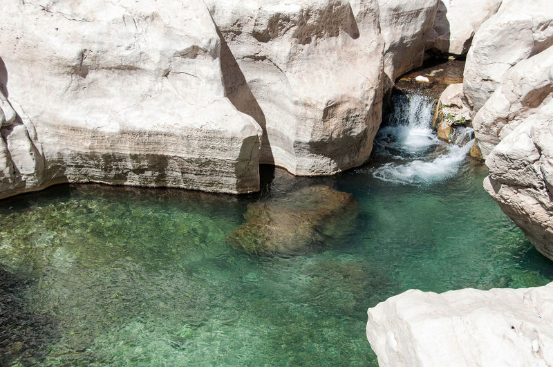 Pool in the Oman desert - Wadi Bani Khalid Beauty In Nature Desert Extreme Extreme Terrain Lake Nature No People Oman Oman Desert Outdoors Pond Pool Refraction Rock Rock - Object Rock Formation Source Swimming Tourism Tourist Attraction  Wadi Wadi Bani Khalid Water Waterfall