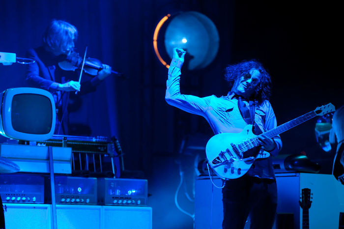 Arts Culture And Entertainment Blue Celebration Forecastle Guitar Jack White  Kentucky  Live Performance  Louisville Men Music Music Music Festival Musical Instrument Musician Night Performance Performance Group Popular Music Concert Stage - Performance Space Sunglasses Two People Violin
