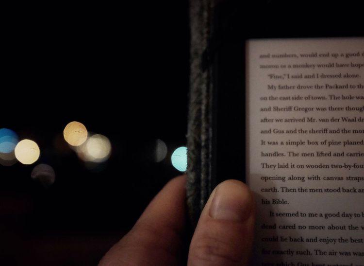 Evening Reading. Night Bokeh Kindle Fujifilm_xseries