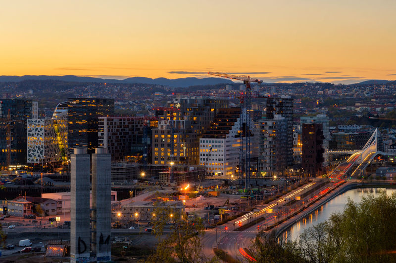 Oslo city skyline, Norway City Center Cityscape Norway Oslo Oslo, Norway Skyline View Architecture Building Exterior Built Structure City City Life Cityscape High Angle View Illuminated Night No People Outdoors Sky