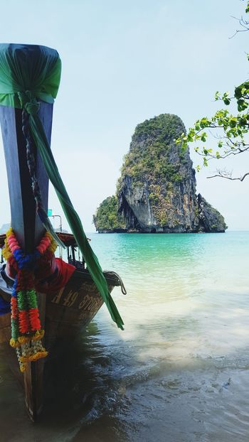 Longtailboat Longtail Crystal Clear Waters Andaman Sea Thailand Railay Beach Summer Flowers Island Paradise Beach Paradise Travel Sand White Sand Beach