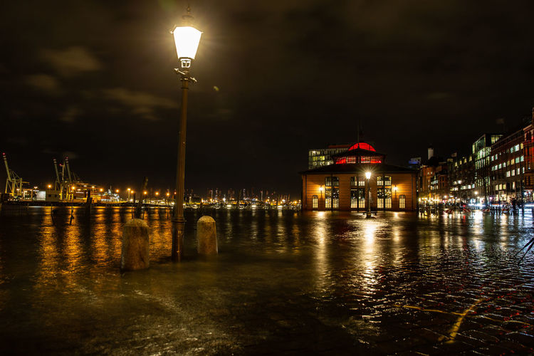 Illuminated Night Water Street Light Architecture Street Lighting Equipment Building Exterior Built Structure City Reflection Waterfront Nature No People Sky River Glowing Outdoors Light Transportation Hamburg, Germany Fischmarkt Fischmarkt Hamburg Flood Flooding