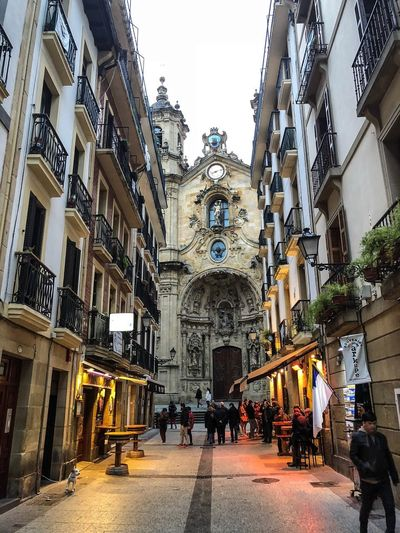 San Sebastián Old town Pinxtos San Sebastian SPAIN Basque Country Architecture Built Structure Building Exterior Group Of People Building Lifestyles Day