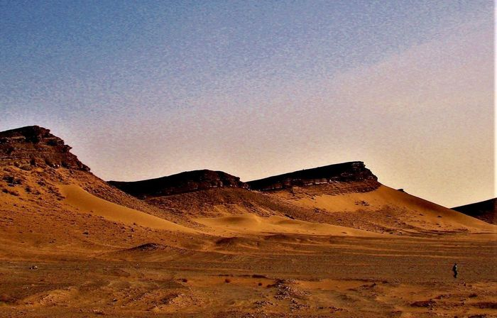 Lost In The Landscape Marocco Dessertphotography Morocco 🎈👻 Desert Landscape Nature Arid Climate Scenics Outdoors Beauty In Nature No People Sand Dune Clear Sky Mountain Day Travel Destinations Sky One Men Nordafrika Nordafrika Marokko EyeEm Nature Lover