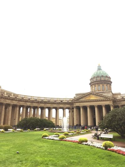 Architecture Grass Travel Travel Destinations History Built Structure Building Exterior Government City Tourism Sky Day Outdoors St Petersburg Kazansky Cathedral Russia Beautiful Building Buildings & Sky Dome No People (null)Fountain Terrace Flower