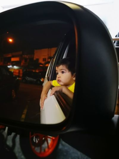 Baby Reflections Baby Boy Cute Boy 1 Year Old Car Side-view Mirror Vehicle Mirror Vehicle Rear-view Mirror Thoughtful