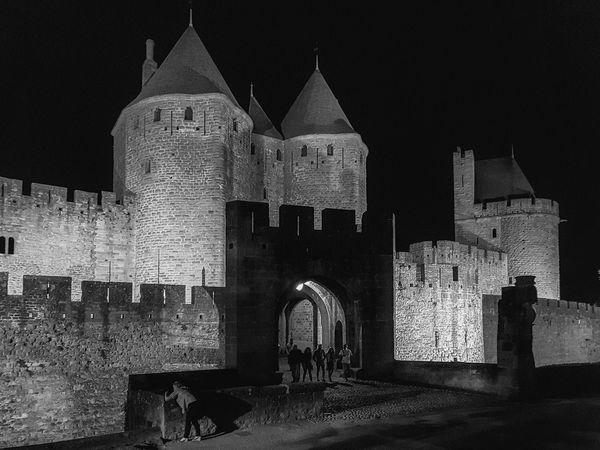 Carcassonne Carcassonne City MedievalTown Night Photography Architecture Black And White Black And White Photography Building Exterior Built Structure History Medieval Architecture Monochrome Photography Night Outdoors Spirituality The Past Travel Destinations