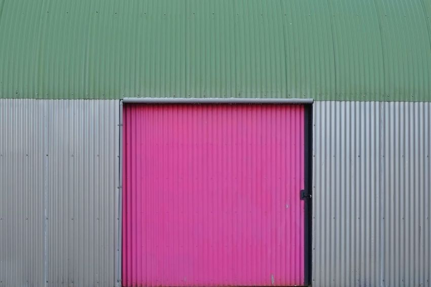 """""""Pink Door"""" Pink Pink Color Corrugated Iron Industry Multi Colored Backgrounds Steel Textured  Pattern"""