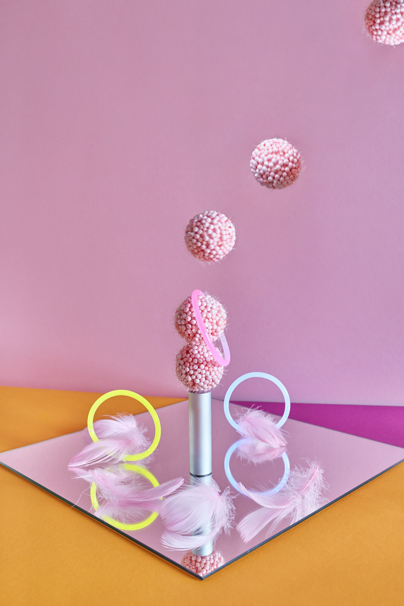 pink color, indoors, table, no people, colored background