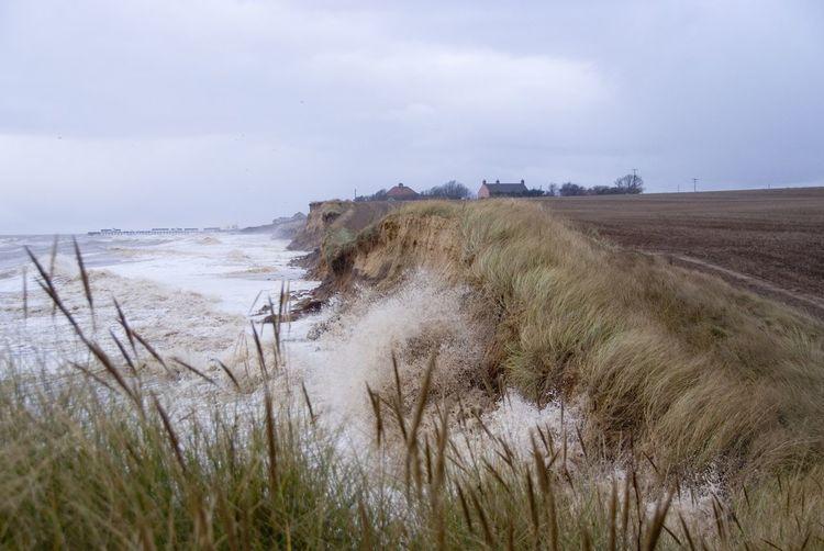 Coastal erosion. Storm surge southwold Southwold Storm Surge Cliffs Coastal Erosion Sky Land Water Sea Beach Beauty In Nature Nature