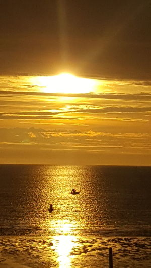 Sunset Sea Reflection Gold Colored Sunlight Nature Sun Orange Color Dramatic Sky Beauty In Nature Scenics Horizon Over Water Tranquil Scene Summer Nights<3 Summer Solstice Alaska Is Where I'm At SalmonLove SalmonFishing Set Netting