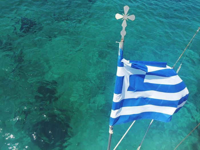 Greek Flag On The Ship Greek Flag Greece Greek Islands Greek Summer Sea Blue Beautiful Water The Week On EyeEm
