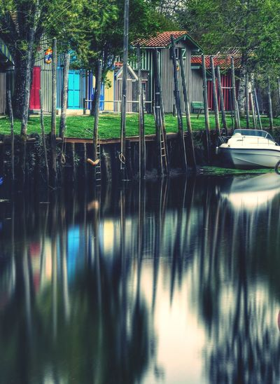 Fading down Tree Water Reflection Sky Waterfront Rippled Building Ocean Historic Exterior Mid Distance Iceberg Settlement Swan Stilt Canal Lake Residential Structure Calm Bicycle Rack Outdoor Play Equipment Boat Moored Standing Water Office Building