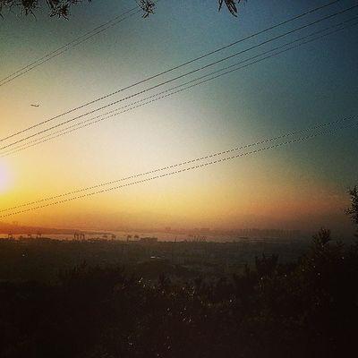 今天的夕阳好美丽!