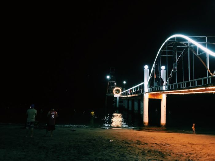 Lights in the midst of darkness Summer Beach Photography Beach Travel Follow4follow Followme Like4like Bridge Iphone8 IPhoneography Night Illuminated Architecture Sky Built Structure Building Exterior Bridge Nature Outdoors Travel Destinations Lighting Equipment