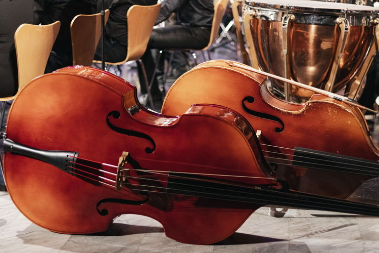Close-up of violins on table