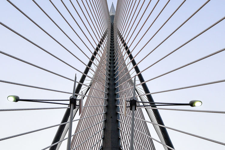 Lines Modern Symetrical Abstract Architecture Bridge Built_Structure Cable-stayed Bridge Clear Sky Design Low Angle View No People Fresh On Market 2017