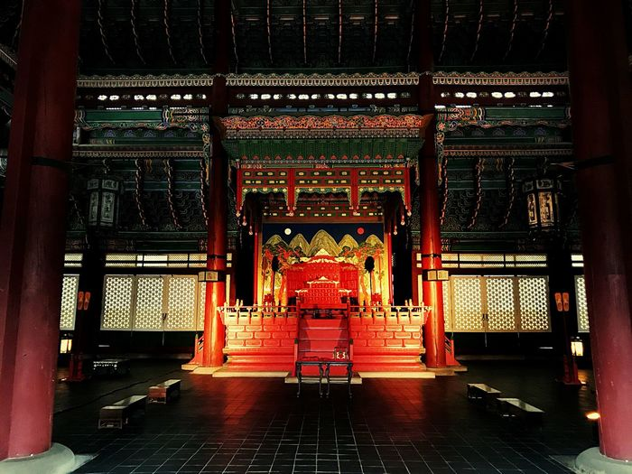 korean temple South Korea Temple Architecture Built Structure Indoors  No People Building Religion Illuminated Red Travel Destinations The Way Forward Travel Architectural Column Belief Spirituality Flooring