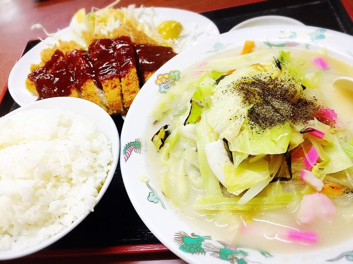 今日の ランチ はポリューム満点! Lunch タイピーエン 大平燕 チキンカツ お腹いっぱい(#^.^#) 定食